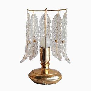 Scandinavian Modern Gold Leaf & Cut Glass Table Lamp, 1970s