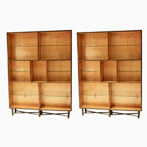 Mid-Century Italian Glass, Oak, and Elm Wall Units, 1950s, Set of 2