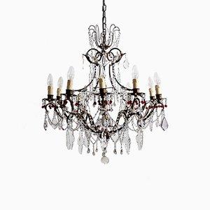 Lámpara de araña italiana Mid-Century de latón y cristal de Murano, años 50