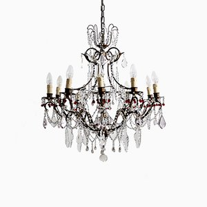 Mid-Century Italian Brass and Murano Glass Chandelier, 1950s