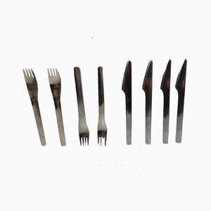 Scandinavian Modern Danish Steel Flatware Set by Erik Magnussen for Stelton, 1990s
