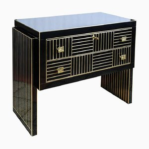 Vintage Italian Black Mirror and Brass Buffet, 1979