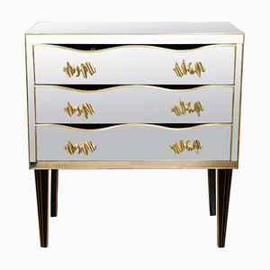 Mid-Century Italian Bronze and Mirrored Glass Buffet with Brass Handles, 1969