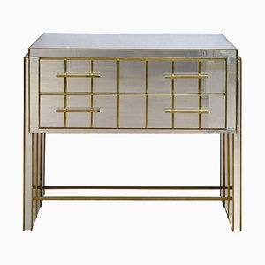 Vintage Italian Mirrored Glass and Brass Cabinet with 2 Drawers, 1989