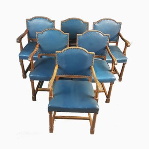 Vintage Carved Oak Armchairs, 1920s, Set of 6