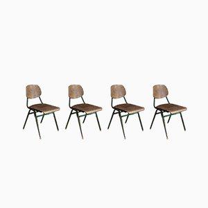 Vintage Metal Frame School Chairs, Set of 4