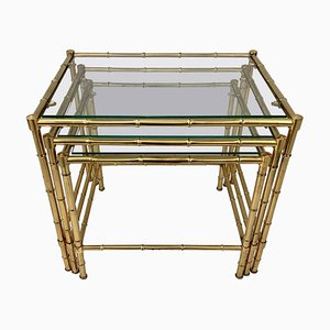 Vintage French Brass Nesting Tables, 1970s