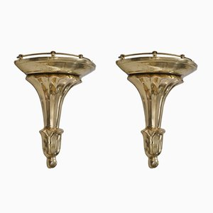 Mid-Century Neo-Classical French Bronze Shelves, 1950s, Set of 2