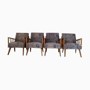 Mid-Century Armlehnstühle mit Sprossen, 4er Set