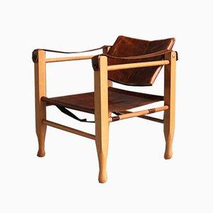 Silla infantil escandinava moderna de cuero y madera, años 70