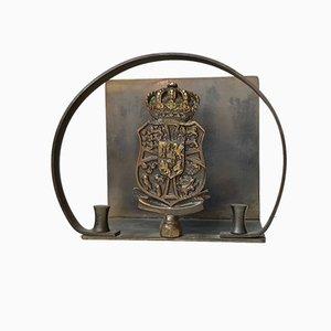Servilletero danés Art Déco de bronce de Nordisk Malm, años 30