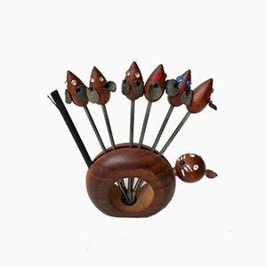 Palillero con palillos danés moderno de acero y teca, años 60