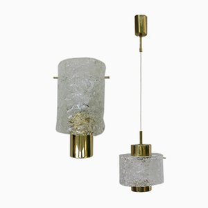 Lámparas de techo italianas de latón y cristal de Murano, años 60. Juego de 2