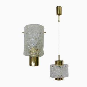 Lámparas de techo italianas de latón y cristal de Murano de Palwa, años 60. Juego de 2