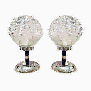 Mid-Century Tischlampen aus geätztem Glas, 1950er, 2er Set