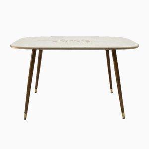 Mid-Century German Wood & Brass Adjustable Coffee Table, 1950s