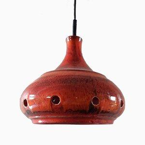 Deutsche rote Vintage Keramik Deckenlampe, 1970er