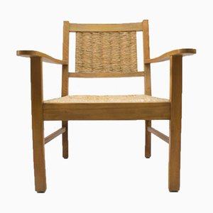 Modernist French Beech & Wicker Armchair, 1940s