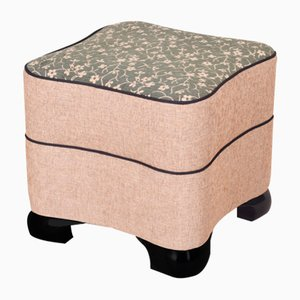 Vintage Art Deco Fabric and Wood Stool, 1920s