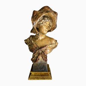 Sculpture Antique en Terracotta de Friedrich Goldscheider