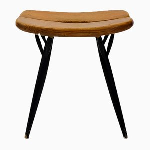 Vintage Pine Stool by Ilmari Tapiovaara for Asko, 1950s