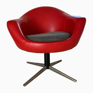 Mid-Century Vinyl Swivel Chair
