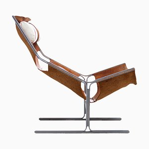 Leather and Steel Lounge Chair by Abraham Polak, 1960s