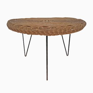 Mid-Century Iron & Wicker Coffee Table, 1960s