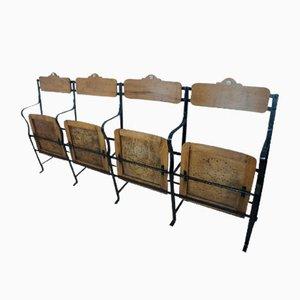 Industrielle Vintage 4-Sitzer-Kinobank aus Metall & Holz, 1930er