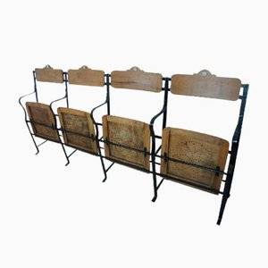 Vintage Industrial Metal and Wood Cinema 4-Seater Bench, 1930s