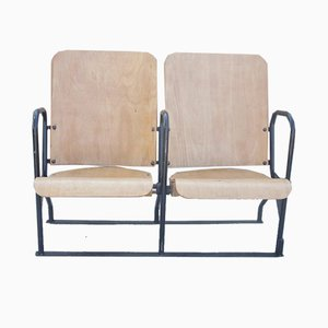 Mid-Century Industrial Metal and Wood Cinema 2-Seater Bench, 1960s