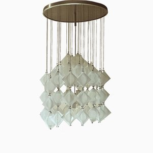 Italian Aluminum and Opaline Glass Ceiling Lamp from Mazzega, 1969