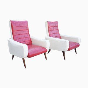 Vintage Red & White Vinyl Lounge Chairs, 1980s, Set of 2