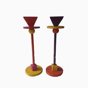 Postmodern Italian Metal Candleholders, 1980s, Set of 2
