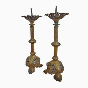 Antique Metal Church Candleholders, Set of 2