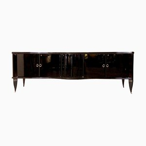Black Lacquered Sideboard with Bar Compartment, 1940s