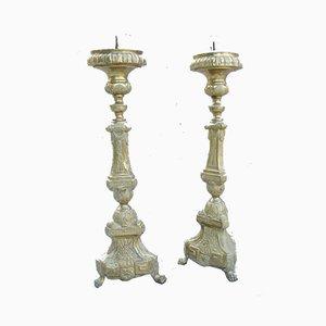 Portacandele da chiesa antichi in metallo, set di 2