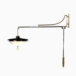 Vintage Brass and Metal Sconce by Oscar Torlasco, 1950s