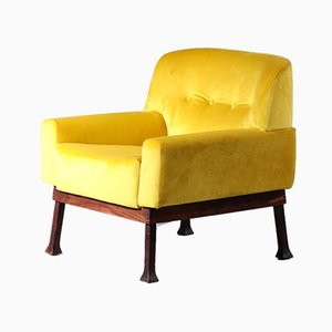 Vintage Italian Yellow Velour Lounge Chairs from ISA Bergamo, 1970s, Set of 2