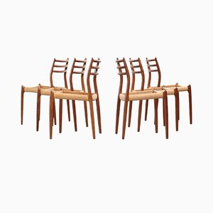 Vintage Danish Model 78 Teak Dining Chairs by Niels Otto Møller, 1960s, Set of 6