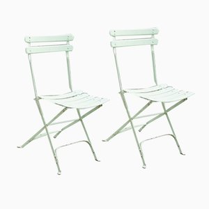 Metal and Wood Garden Chairs, 1930s, Set of 2