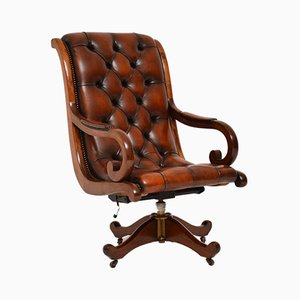 Regency Style Leather & Mahogany Swivel Desk Chair, 1950s
