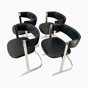 Chaises de Salle à Manger en Plaqué Chrome, 1970s, Set de 4