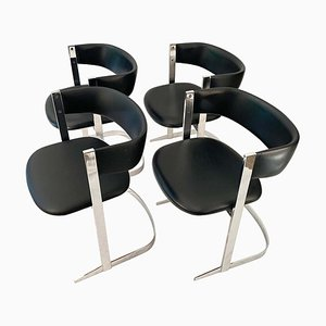 Chrome-Plated Dining Chairs, 1970s, Set of 4