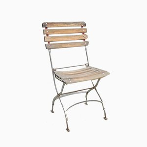 Vintage Metal and Wood Folding Chair, 1930s