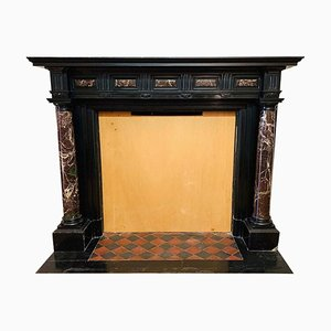 Antique Empire Style Black and Red Marble Fireplace Mantel