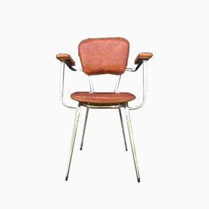Chrome Brown Skai Side Chair from Loire et Sieges, 1960s
