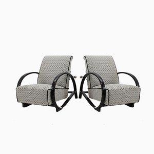 Sillones reclinables Art Déco de madera curvada, años 30. Juego de 2