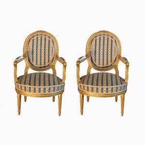 Antike französische Stühle im Stil von Louis XVI, 2er Set