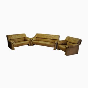 Italian Leather Sofa Set by Vico Magistretti for Cassina, 1960s